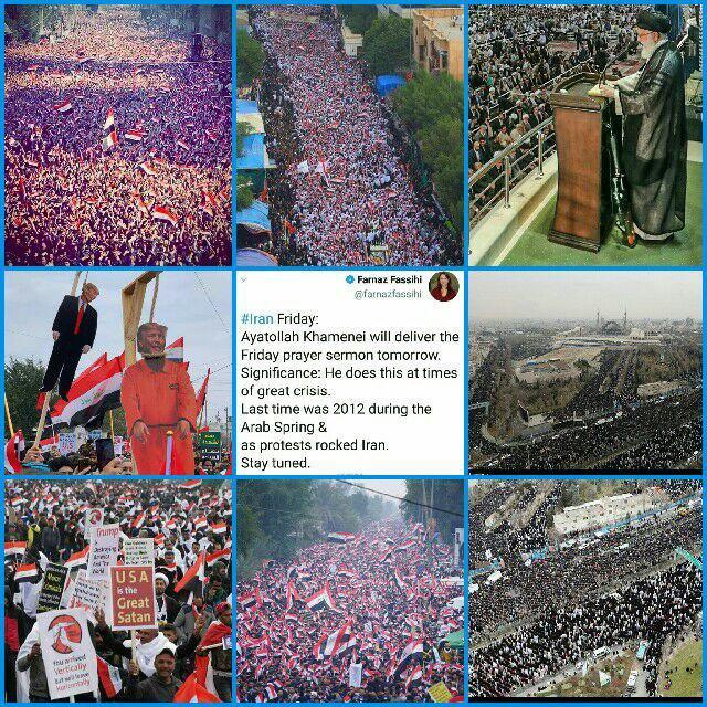 عراق؛ تظاهرات میلیونی عراقیها در بغداد در محکومیت اشغالگری نظامی آمریکا/ مردم عراق: هر مشکلی در عراق است آمریکا در آن دست دارد/ مقتدی صدرخواستار لغو تمام توافقات نظامی با آمریکا شد +فیلم و عکس