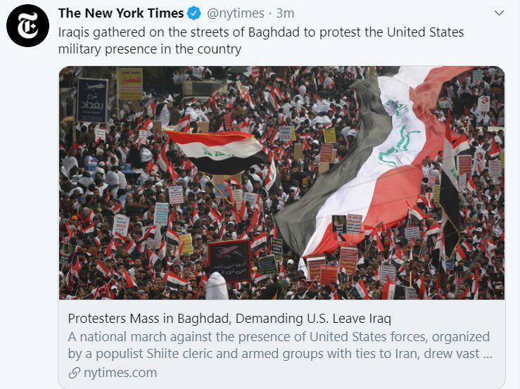 بازتاب تظاهرات میلیونی مردم عراق در رسانههای جهان